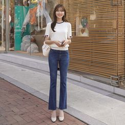 CLICK - Washed Boot-Cut Jeans