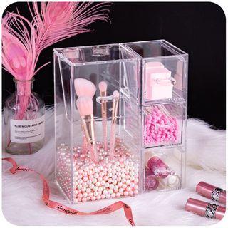 Momoi - Acrylic Makeup Cotton Pad / Brush Desk Organizer