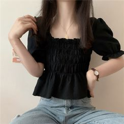 Newkoou - Puff-Sleeve Square Neck Shirred Blouse