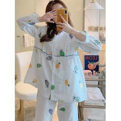 Mamaladies(ママレディーズ) - Maternity Pajama Set: Pineapple Print Shirt + Pants