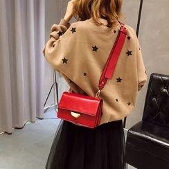 Mulgam - Faux Leather Flap Crossbody Bag