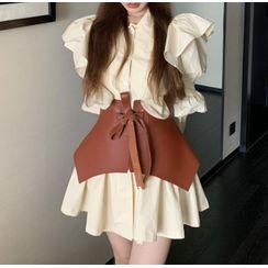 Avox - Puff-Sleeve Plain Ruffled Mini Dress / Corset