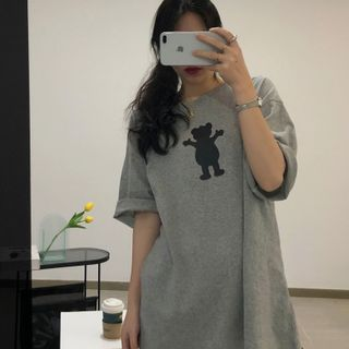 The Cat's Den - Short-Sleeve Bear Print T-Shirt