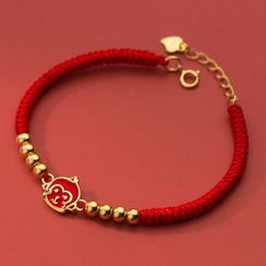 A'ROCH - Monkey Sterling Silver Red String Bracelet