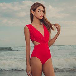 Salanghae - Deep V-Neck Swimsuit