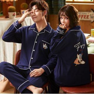 PJ Party - 情侣款家居服套装:鸟印花长袖衬衫 + 裤