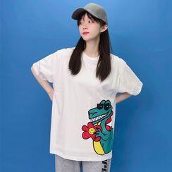 Fizze - Couple Matching Elbow Sleeve Dinosaur Printed T-Shirt