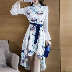 Cassidy - Bell-Sleeve High-Low Floral A-line Dress