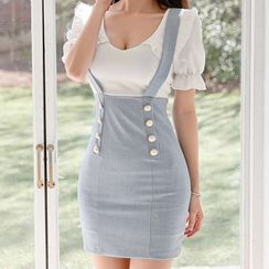 Kevina - Mock Two-Piece Short-Sleeve Mini Sheath Dress