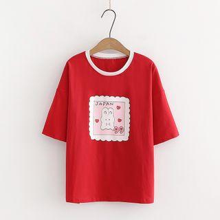 Sonado - Rabbit Print Short-Sleeve T-Shirt / Drawstring Denim Shorts / Straight-Cut Jeans / Set