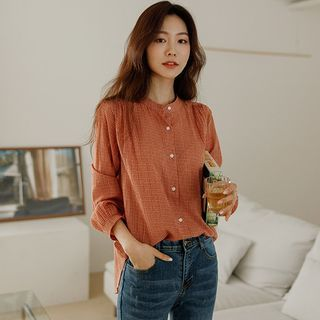 JUSTONE - Mandarin-Collar Checked Shirt