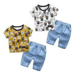 Seashells Kids - Kids Set: Short-Sleeve Print T-Shirt + Denim Jeans