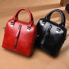 Selinda - Faux Leather Center Zipper Handbag