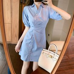 MAVIS - Short-Sleeve Striped Mini A-Line Shirt Dress