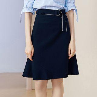 Fachon - High-Waist A-Line Skirt