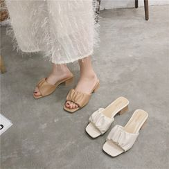 Putcho - Ruched Chunky-Heel Slide Sandals