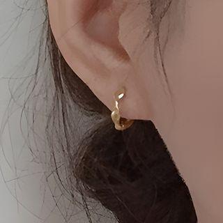 Hansha - Twisted 925 Sterling Silver Hoop Earring