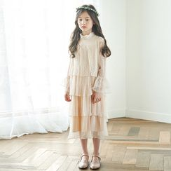 Hobab - Kids Bell-Sleeve Layered A-Line Midi Mesh Dress