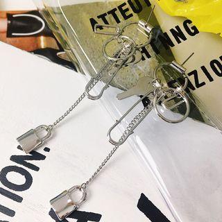Kulala - Alloy Lock & Key Dangle Earrings