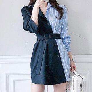 Aurora - Long-Sleeve Striped Belted Open-Collar Mini A-Line Shirtdress