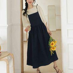 Leoom - Plain Blouse / Midi Pinafore Dress