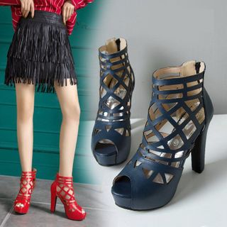 Cinnabelle - Laser Cut Peep Toe High Heel Ankle Boots