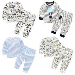 贝壳童装 - 小童睡衣套装: 长袖上衣 + 裤子