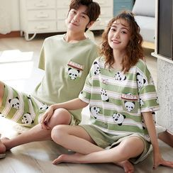Lion Sniff - Couple Matching Loungewear Set : Short-Sleeve Panda Print Top + Shorts