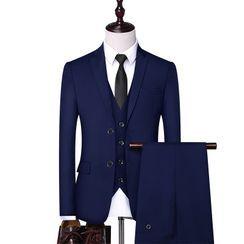 Bay Go Mall(ベイゴーモール) - Set: Single-Breasted Blazer + Vest + Dress Pants