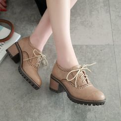 Pretty in Boots - Block-Heel Lace-Up Shoes