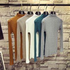 ZELE - Mock-Neck Long-Sleeve Knit Top