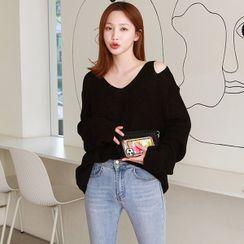 Seoul Fashion(ソウルファッション) - V-Neck Cutaway Sweater