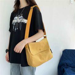 Libra - Plain Canvas Flap Crossbody Bag