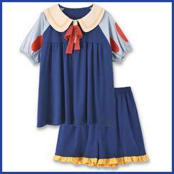 Endormi - Pajama Set: Short-Sleeve Color Block Top + Shorts