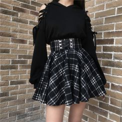 Lydiah - Cold-Shoulder Hoodie / Plaid Mini A-Line Skirt
