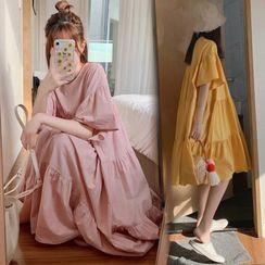 Almacen - Short-Sleeve Babydoll Midi A-Line Dress