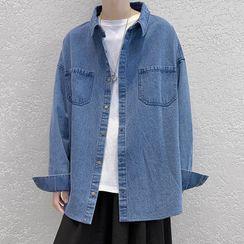 JUN.LEE - Pocket-Front Long-Sleeve Oversize Denim Shirt
