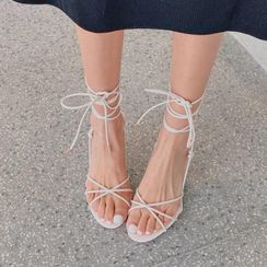 JY Shoes - Genuine Leather Kitten-Heel Lace Up Sandals