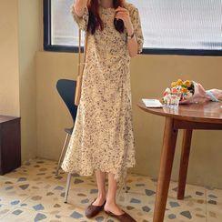 Muzly - Floral Elbow-Sleeve Midi A-Line Dress