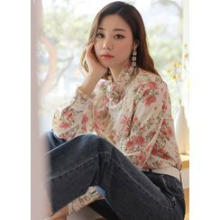 Styleonme - Frill-Trim Corsage Floral Blouse