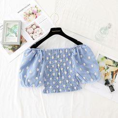 NINETTE - 泡泡袖小菊花刺绣皱褶短款上衣