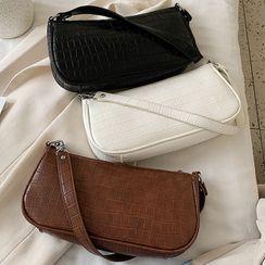 NewTown - Croc Grain Faux Leather Shoulder Bag