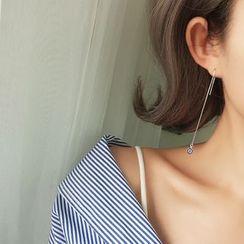 Jiniro - 925 Sterling Silver Rhinestone Drop Earring
