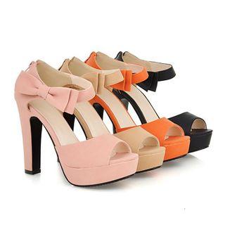 Cinnabelle - Ribbon Ankle-Strap Platform Chunky-Heel Sandals