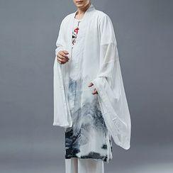 Sparrow Farm - Print Wide-Sleeve Chiffon Jacket
