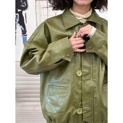 DUKA(ドゥカ) - Single-Breasted Faux Leather Jacket