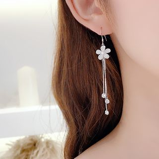Lalila - 花朵流苏耳环 / 夹式耳环
