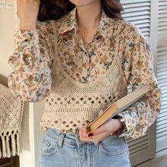 Teaghlaigh - Long-Sleeve Floral Print Chiffon Shirt / Spaghetti Strap Knit Top
