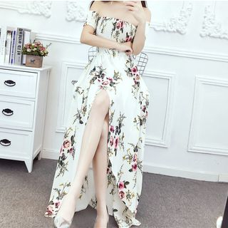 Lycoris - Off-Shoulder Maxi Floral Sundress