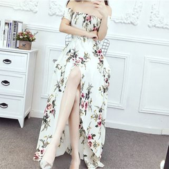 Lycoris - Off-Shoulder Maxi Floral Sundress